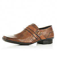 Brown monk strap leather shoes