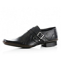 Black monk strap leather shoes