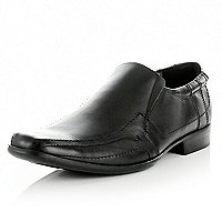 Black leather square toe slip on loafers