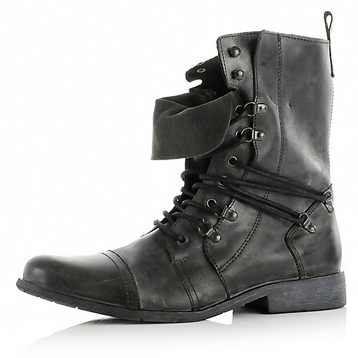 Black high military boots