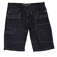 Black worker stitch detail denim shorts