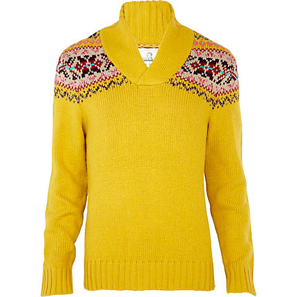 yellow fairisle design shawl neck jumper