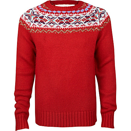 red fairisle heavy knit jumper