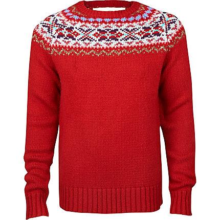 red fairisle heavy knit jumper