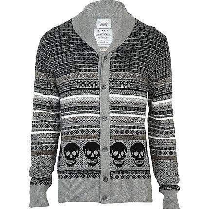 grey skull print cardigan