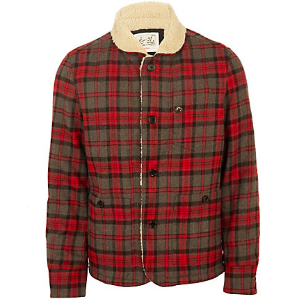 red check sheepskin collar jacket