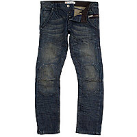 Dark wash denim biker style slim leg jeans