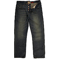 Dark wash denim straight jeans