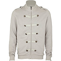 Grey zip through military jacket