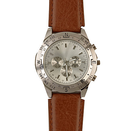 Brown strap three dial watch