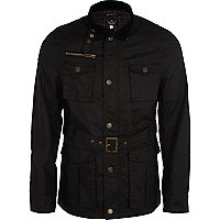 Black long sleeve four pocket jacket