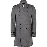 Grey double breasted military coat
