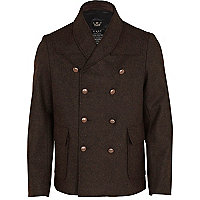 Brown shawl collar double breasted peacoat