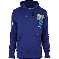 Navy old glory overdyed patch hoody