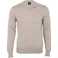 Grey marl v-neck jumper