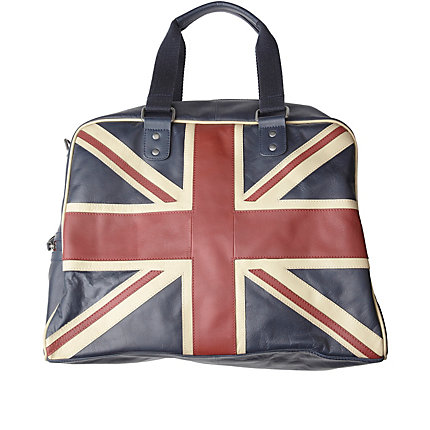navy union jack leather holdall