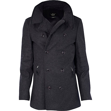 Dark grey double breasted wool coat