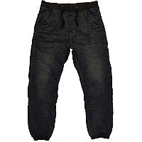 Dark wash denim jogger jeans