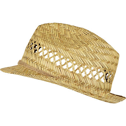 Light brown straw trilby hat