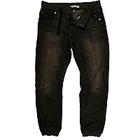 Dark wash denim rib waistband jogger jeans