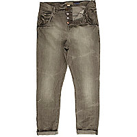 Grey denim carrot fit jeans