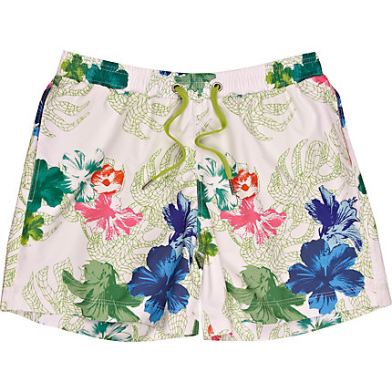White print swim shorts