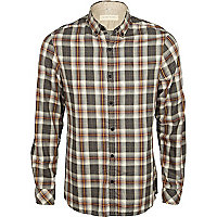 Grey elbow patch check shirt