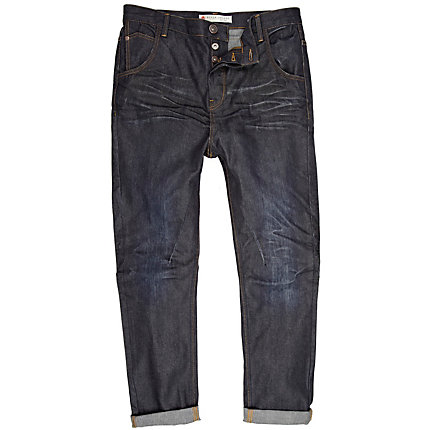Dark wash denim roll leg jeans