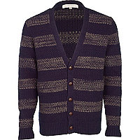 Navy v-neck stripe cardigan