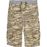 Brown camoflage print shorts
