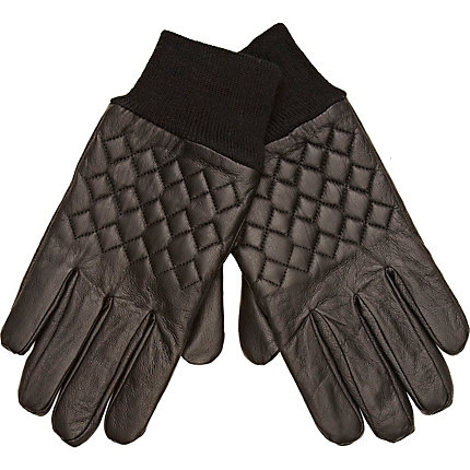 Black quilted gloves