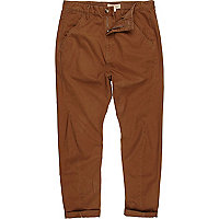 Brown carrot fit roll leg chinos