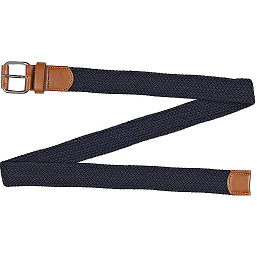 Navy plaited belt