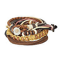 Brown leather rope wrist bands