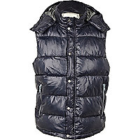 Dark blue padded hooded gilet