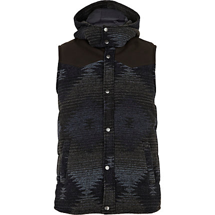 Navy navajo hooded gilet