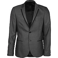 Grey contrast skinny suit jacket