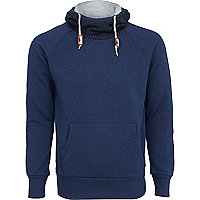 Blue elbow patch hooded sweatshirt