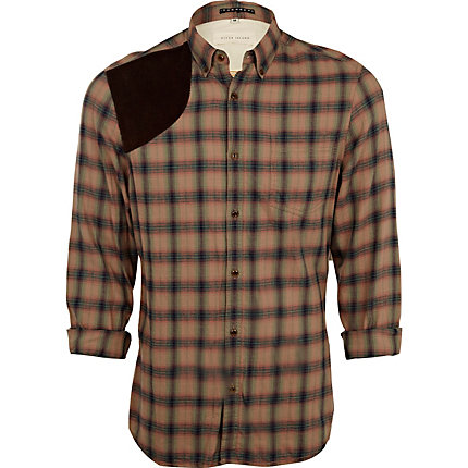 Stone check shoulder patch shirt