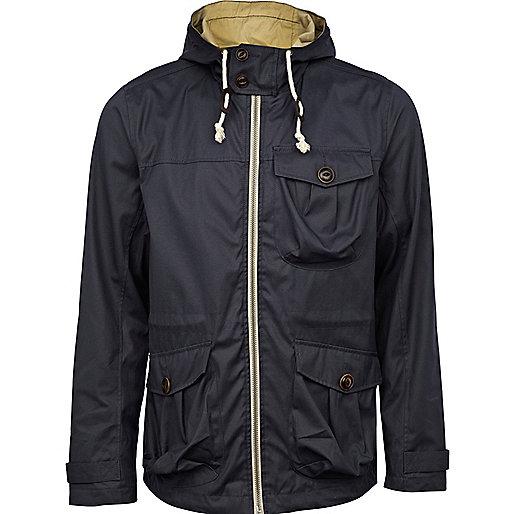 Navy hooded fisherman jacket