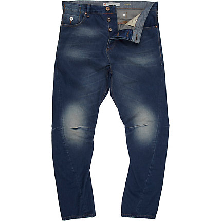 Mid wash denim twist seam jeans