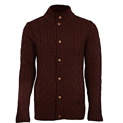 Burgundy funnel neck cable cardigan