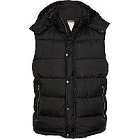 Black padded hooded gilet