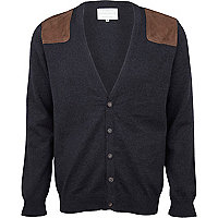 Dark grey shoulder patch cardigan