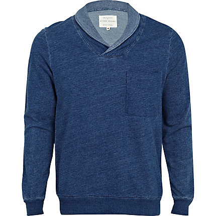 Navy shawl collar sweater