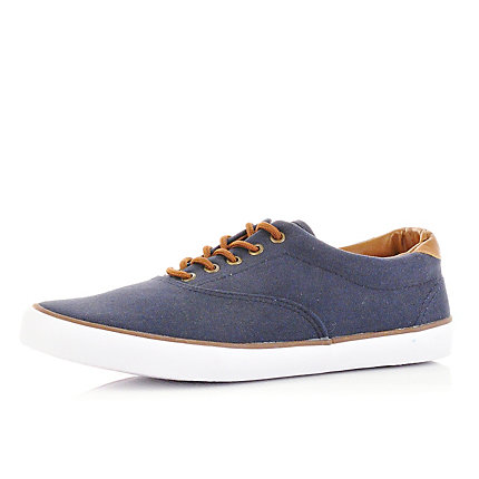 Navy washed plimsolls