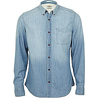 Blue light wash denim shirt
