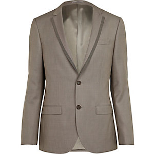 Dark stone slim suit jacket