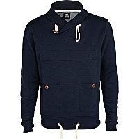 Navy shawl collar sweatshirt