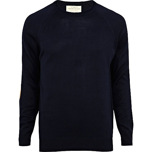 Navy raglan elbow patch jumper